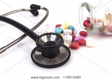 Black Stethoscope And Pills