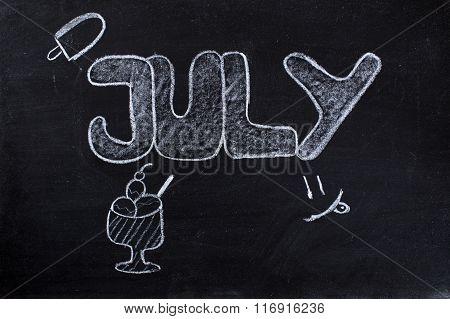 July Handwritten On Blackboard