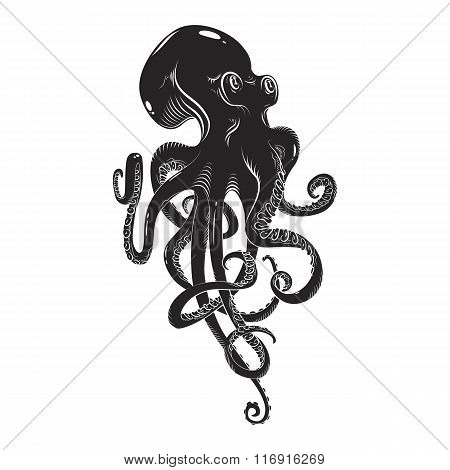 Black danger cartoon octopus characters with curling tentacles swimming underwater, isolated on whit