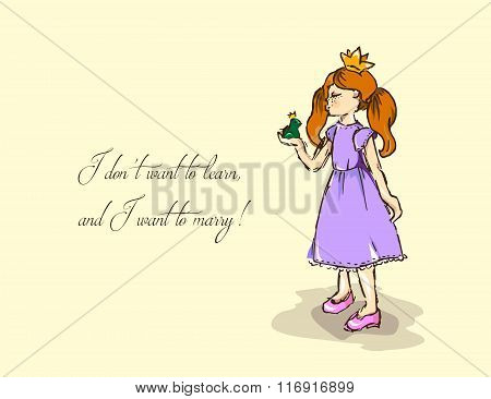 Hand-drawn Illustrations. Card With A Princess.