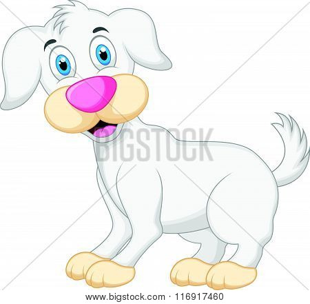 vector illustration of Cute dog cartoon isolated on white