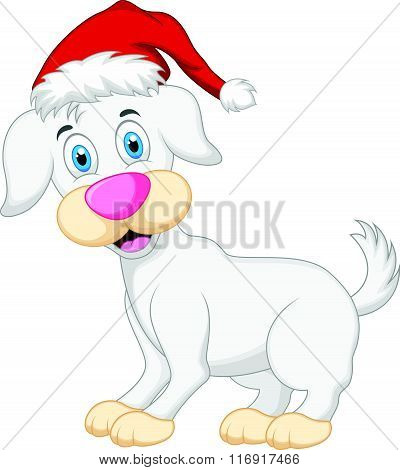 vector illustration of Dog cartoon with christmas hat isolated on white