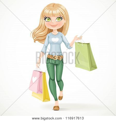 Shopaholic Blond Girl Goes With Paper Bags Isolated On A White B