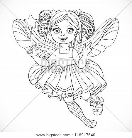 Cute Little Fairy Girl In Lush Dress With A Magic Wand Outlined For Coloring Isolated On A White Bac