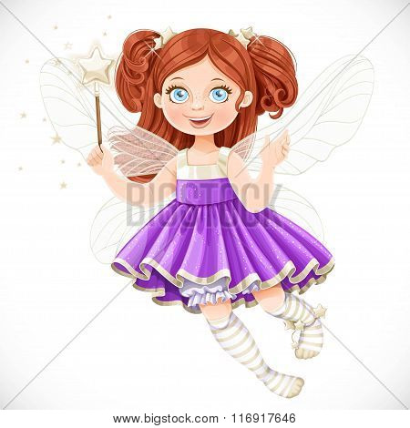 Cute Little Fairy Girl In Violet Dress With A Magic Wand Isolate
