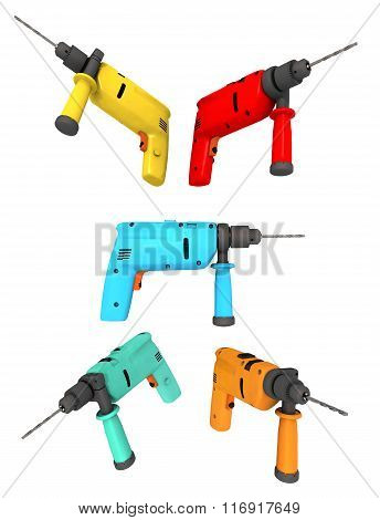Drills isolated on white background