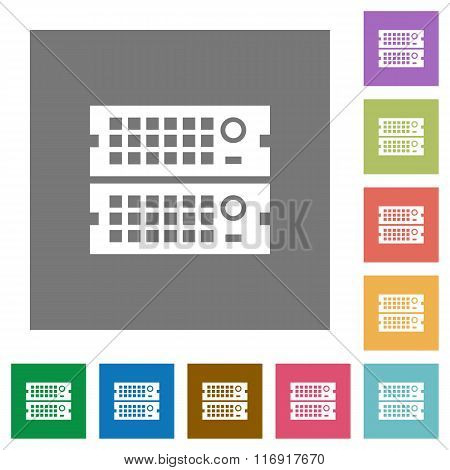 Rack Servers Square Flat Icons