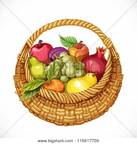 Realistic Round Wicker Basket Filled With Fruits Pomegranate, Gr