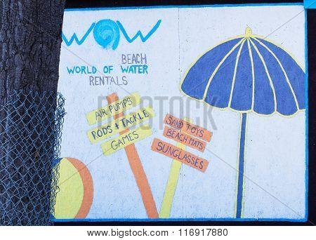 Beach advertisement sign
