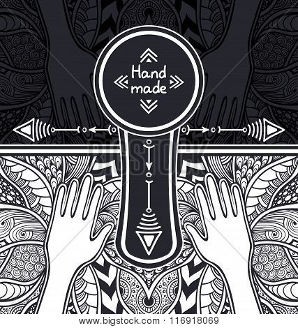 Zen-tangle or  Zend-doodle template  with hands black and white