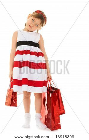 Girl with packages going to the store