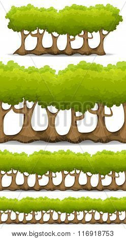 Seamless Forest Trees, Hedges And Bush Set For Game Ui
