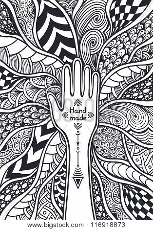 Zen-tangle or  Zend-doodle background with frame from hand black and white