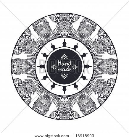 Zen-tangle or  Zend-doodle circle frame from hands black and white