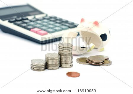 Thai Stack Coins In Financial Concept On White Background
