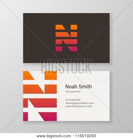 Letter N Stripes Business Card Template