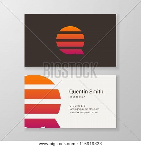 Letter Q Stripes Business Card Template