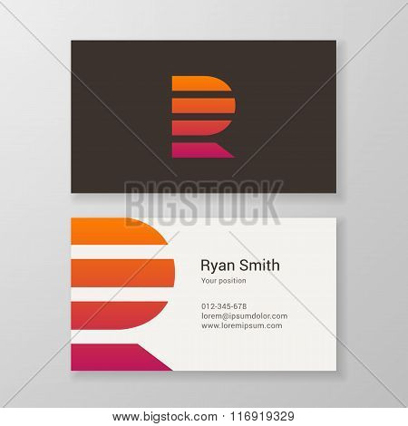 Letter R Stripes Business Card Template