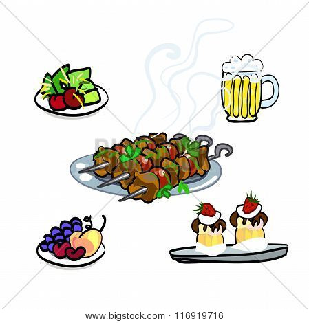A delicious kebab with tomatoes, meat and beer, a plate of greens and sweet cupcakes cakes. Set in a