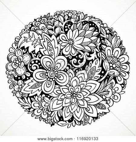 Round Decorative Element For Processing Imaginary Flowers Black