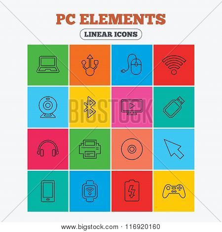 Computer elements icons. Notebook, usb port.