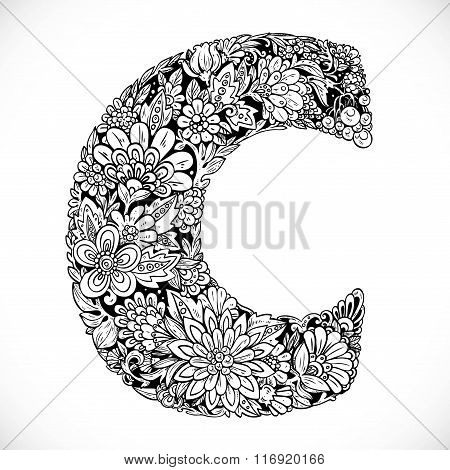 Doodles Font From Ornamental Flowers - Letter C. Black And White
