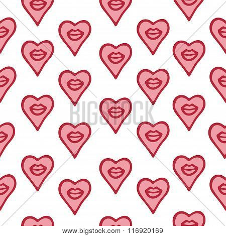 Seamless Pattern Hand Drawn Lips And Hearts