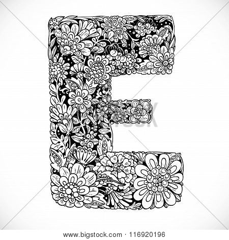 Doodles Font From Ornamental Flowers - Letter E. Black And White