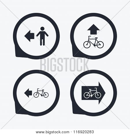 Pedestrian road icon. Bicycle path trail sign.