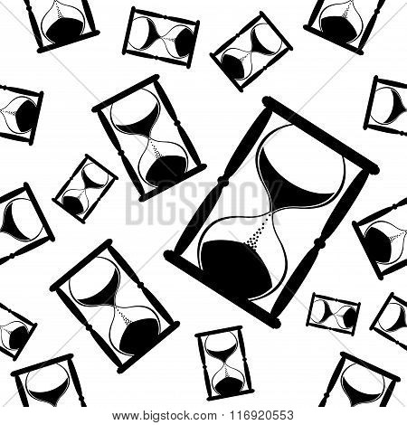 Hourglass. Black and white seamless vector background.
