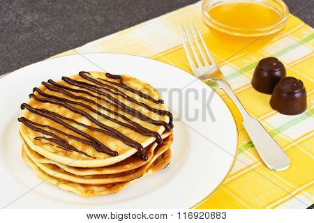 Tasty Pancakes with Chocolate Stack