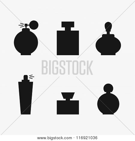Perfume isolated black silhouette icons on background.