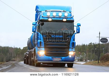 Blue Scania Tank Truck Up Front