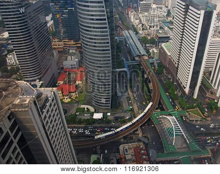 BANGKOK THAILAND - DECEMBER 15 2015: aerial view of Chong Nonsi Skywalk and sky train railway. Here is one of the most significant business areas in Thailand.