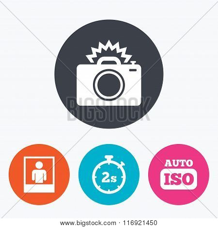 Photo camera icon. Flash light and Auto ISO.