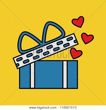 Valentine day gift box isolated icon on color background.