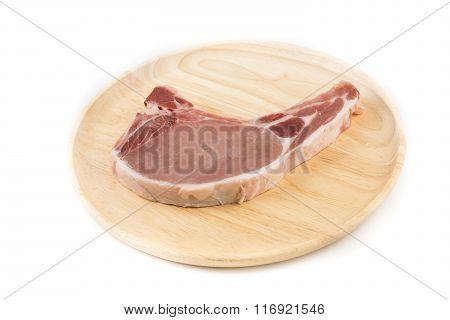 Raw Pork Chop For Cooking Isolated White Background