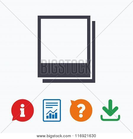 Photo frames template icon. Empty photography.