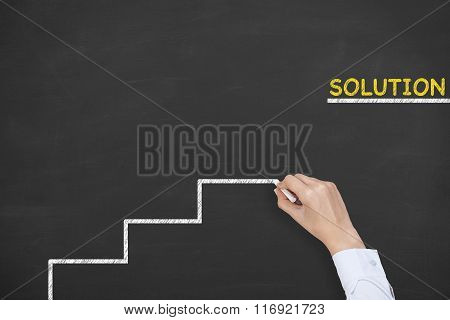Solution Concept Step Drawing on Blackboard
