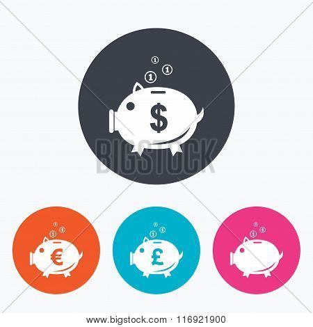 Piggy bank icons. Dollar, Euro, Pound moneybox.