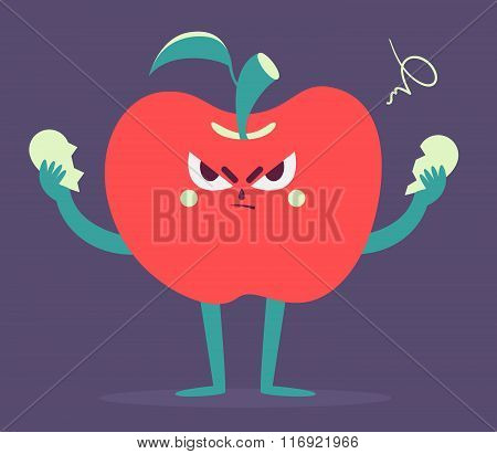 Angry Apple Tearing A Heart Apart