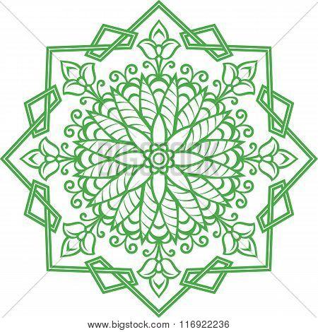 One Color Oriental Floral Ornament.