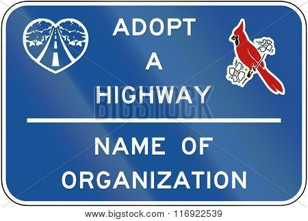 Road Sign Used In The Us State Of Virginia - Adopt A Highway