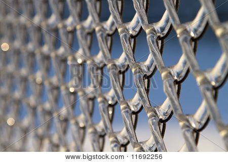 Chainlink Fence, Covered With Ice