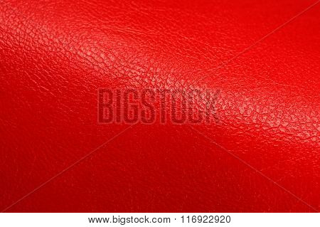 Bright Red Glossy Artificial Leather Background Texture