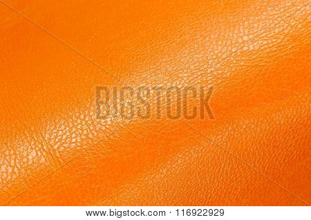 Orange Glossy Artificial Leather Background Texture