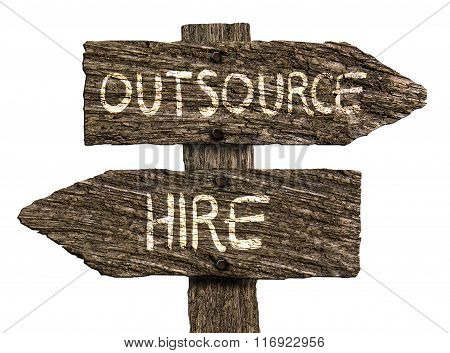 Outsource or Hire Old Wood Directional Signs (on white background)