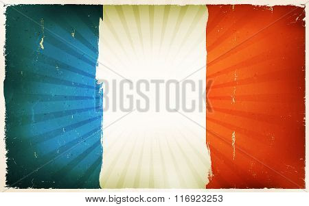 Vintage French Flag Poster Background