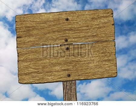 An illustration of an old wood signboard