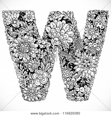 Doodles Font From Ornamental Flowers - Letter W. Black And White